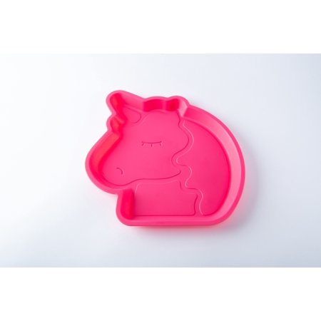 Your Zone Plastic 9 Inch Unicorn Shape Children Plate - Pink Color