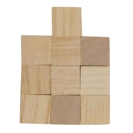 Pine Wooden Stereoscopic Cube Square Bricks Building Blocks Edges DIY Hardwood Craft Toys Carving Decoration