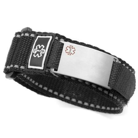 Stickyj Medical Alert Sport Strap Id Bracelet Black
