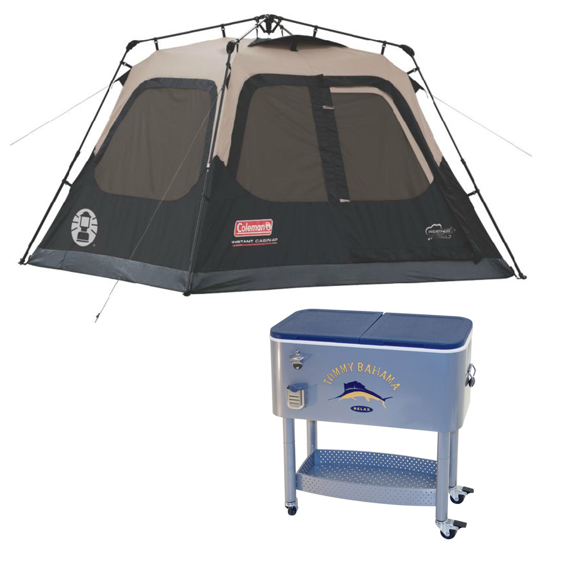 Coleman 4 Person Instant Family Camping Cabin Tent & 77 Quart Rolling Cooler