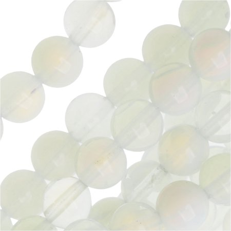 Opalite Moonstone Glass 6mm Round Beads/14 Inch - Moonstone Glass Bead