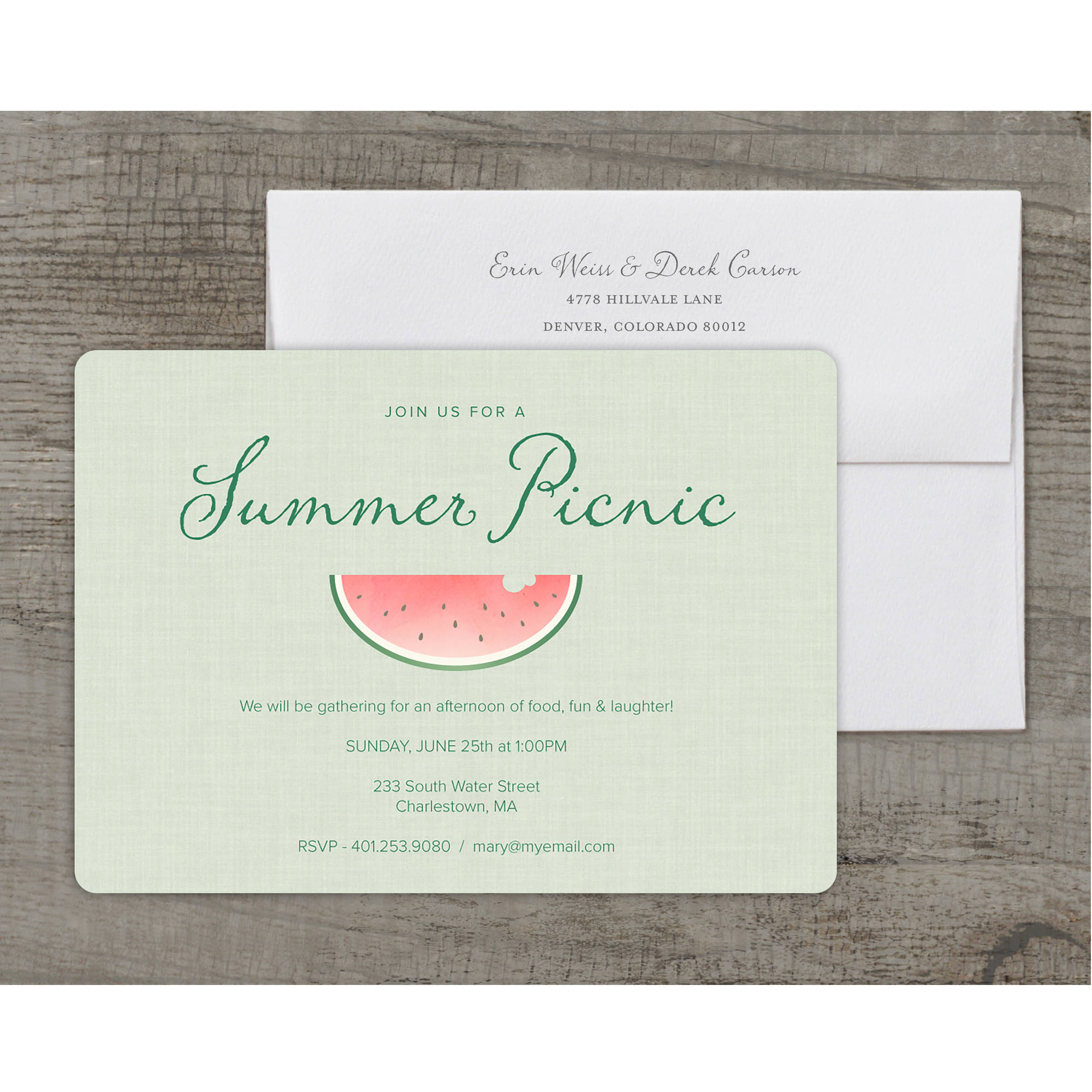 Summer Watermelon Deluxe Party Summer Invitation