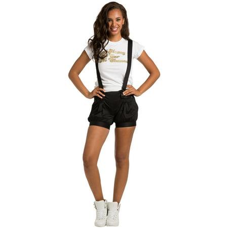 - Sweet Vibes Junior Womens Overall Shorts Black Stretch Satin Leg Hem