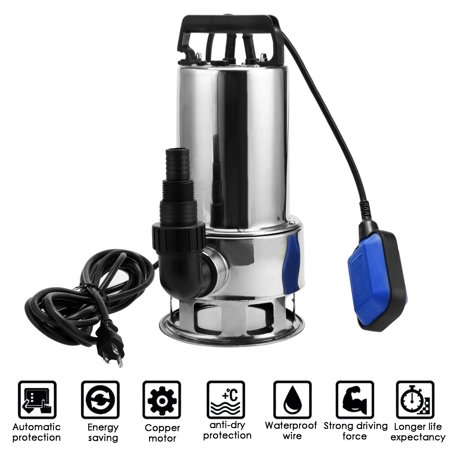 Water Pump, 1.5 H P Stainless Steel Submersible Sump Pump Dirty Clean Water Pump w/ 15ft Cable and Float S witch](Floating Witch)