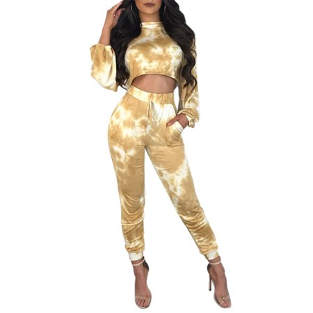 Women Jumpsuits Crop Tops Pants Sets Colorful Printed Long Sleeve Blouse Trousers Sports 2 Pieces Outfits Casual