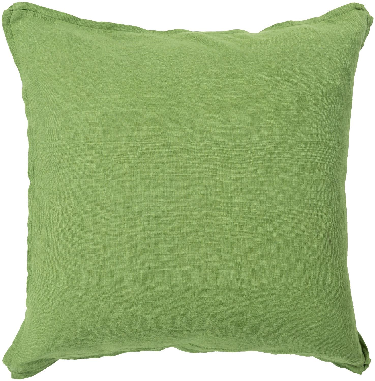 "20"" Light Green Solid Decorative Square Throw Pillow with Coordinating Trim"