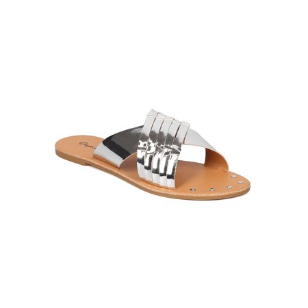 Women Metallic Leatherette Open Toe Cross Band Slipper GF13