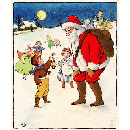 Christmas Card Artist.Christmas Card Santa Children Unknown Artist Canvas Art 24 X 36