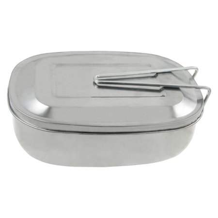 Unique Bargains Silver Tone Metal Picnic Case Food Container Mess Tin Lunch Box