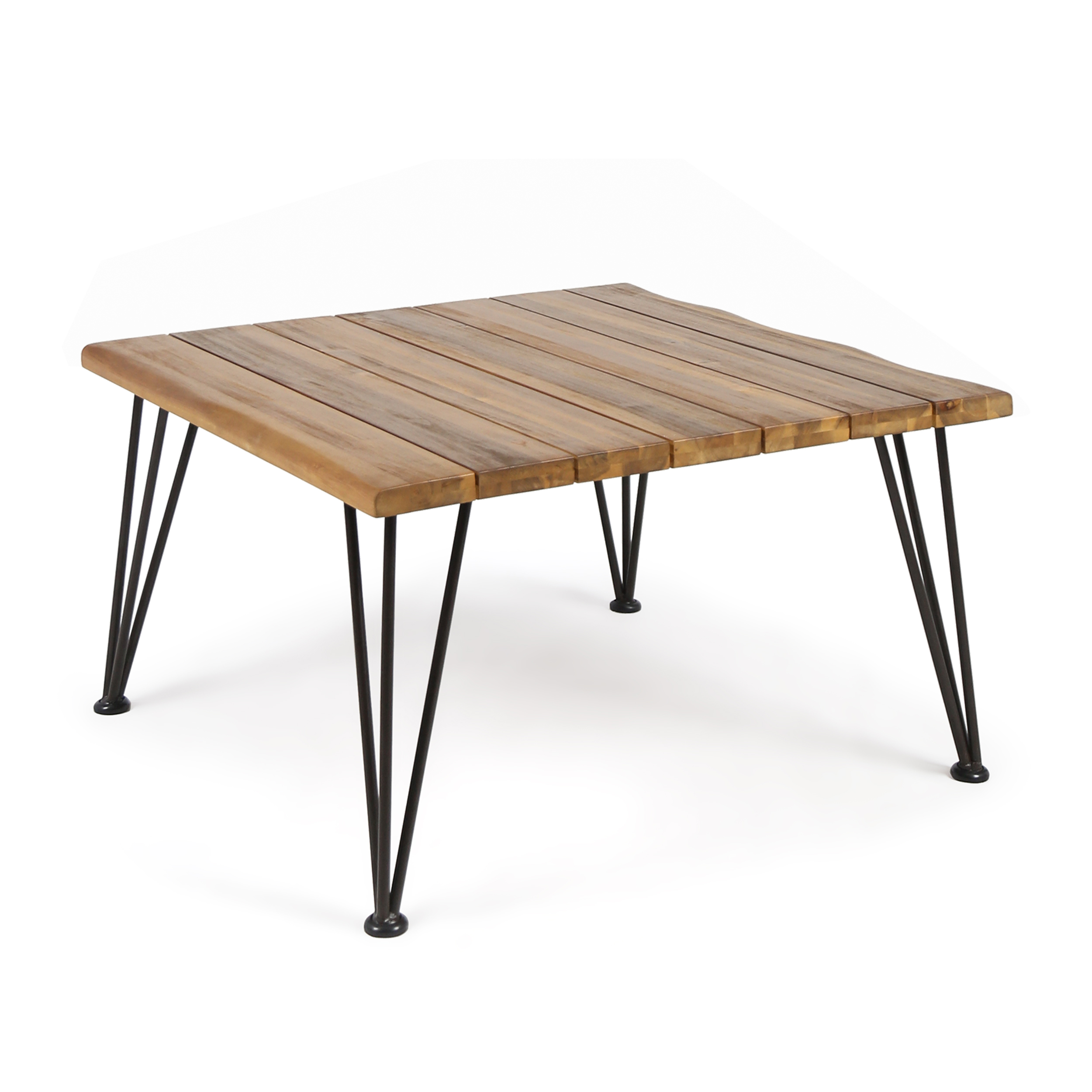 Zach Outdoor Industrial Acacia Wood Coffee Table with Iron Frame, Teak Finish and Rustic Metal Finish by GDF Studio