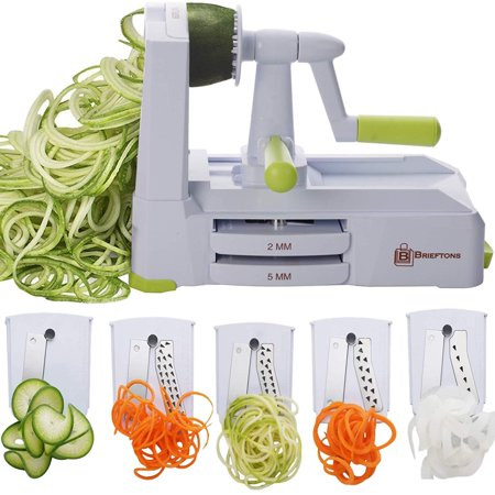 Brieftons 5-Blade Spiralizer (BR-5B-02): Strongest-and-Heaviest Duty Vegetable Spiral Slicer, Best Veggie Pasta Spaghetti Maker for Low Carb/Paleo/Gluten-Free, With Extra Blade Caddy