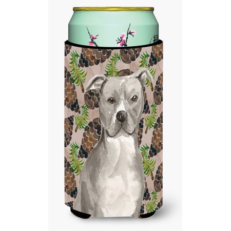 Staffordshire Bull Terrier Pine Cones Tall Boy Beverage Insulator Hugger BB9570TBC (Buy Pine Cones)