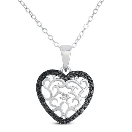 black diamond accent sterling silver heart pendant 18