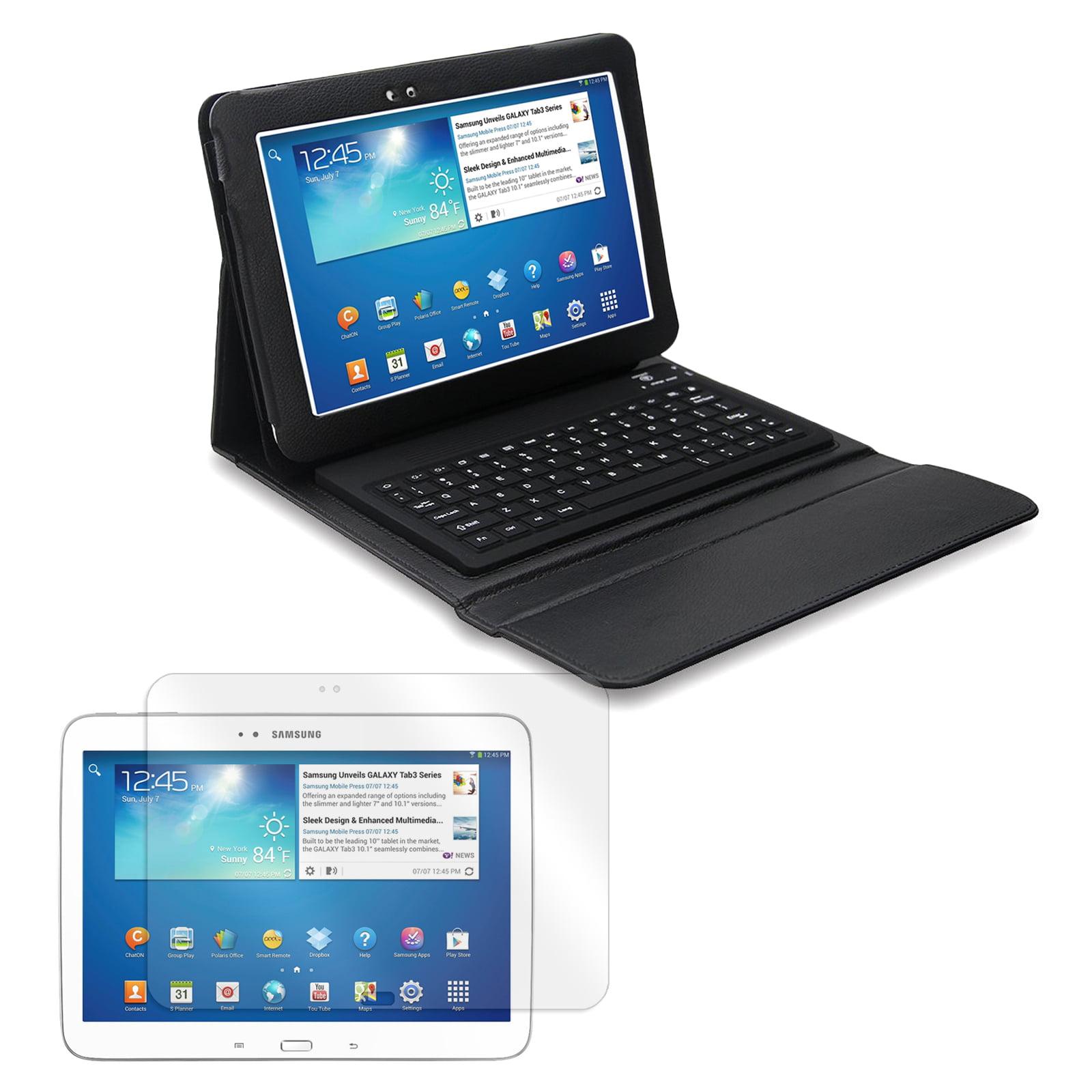 "Bluetooth Keyboard Folio with Screen Protector for Samsung Galaxy Tab 3 10.1"" Tablet"