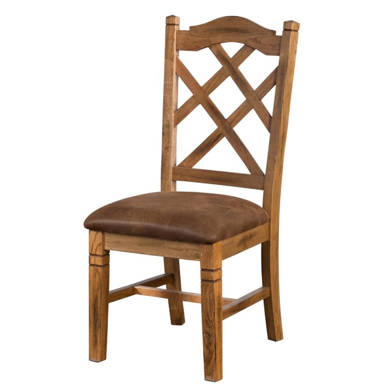 Sunny Designs Sedona Double Cross Back Dining Chair in Rustic Oak