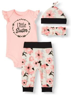 Miniville Baby Girls Bodysuit, Leggings, Hat and Headband, 4-Piece Set
