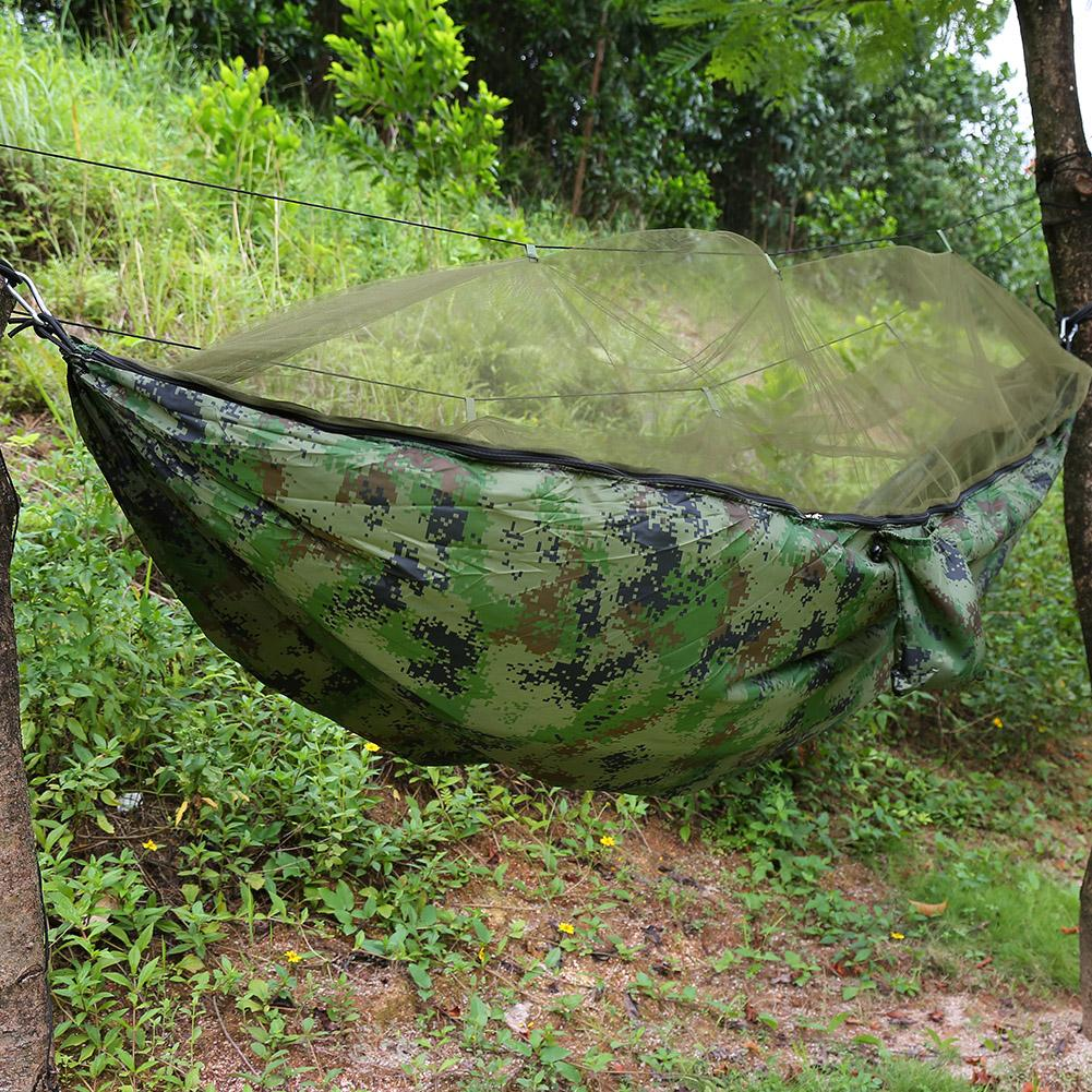 Qiilu Camping Hammock With Mosquito Net Two Persons Camping Tent Hanging Sleep Hammock Bed Military Grade Parachute Nylon Hammock for Outdoor Garden Jungle