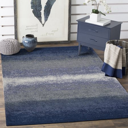 Jewel Flat Woven Gradient Tonal Abstract Ombre Navy Indoor Contemporary Area Rug ( 5' x 7' ) - Navy Contemporary Rug