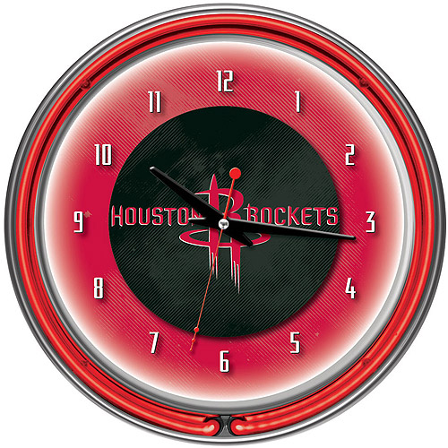 "Houston Rockets NBA 14"" Neon Wall Clock"