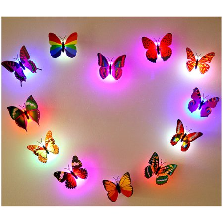 Fashion LED Glowing 3D Butterfly Night Light Sticker Art Design Mural Home Wall Decal  - image 7 of 12