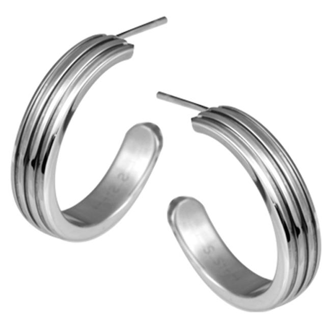 AAB Style ESS-138 Stainless Steel Earrings with Corrugated Design