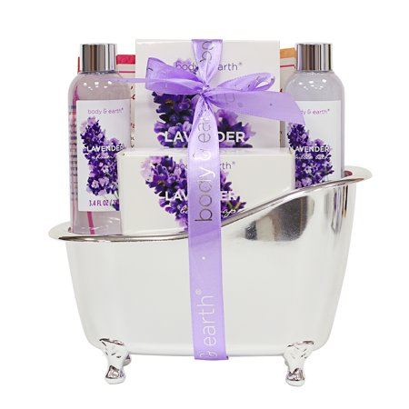 Bath and Body Gift Set, 4 Pcs Home Spa Kit, Lavender Scented with Shower Gel, Bubble Bath, Bath Salts and Bath Soap, Best Gift for (The Best Soap For Men)