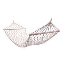 Hammock Bed with Rope Wood Pole Cotton Rope White