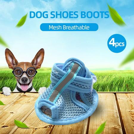 4pcs Dog Shoes Boots Mesh Pet Shoes Breathable Anti-Skid Soft Mesh Sandals XXL