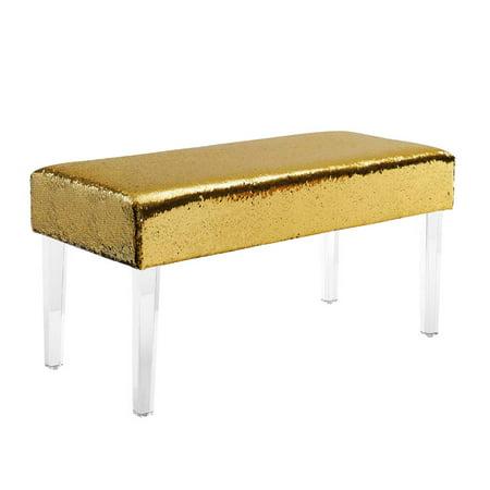 - Linon Tonya Mermaid Acrylic Leg Bench, Sequin, 18 inch Seat Height