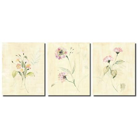 Summer Flowers   Popular Soft Pastel Botanical Flower Bouquet; Floral Decor; Three 8x10in Poster (China Summer Bouquet)