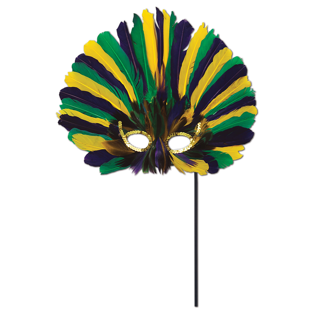 Club Pack of 12 Festive Green, Golden-Yellow and Purple Feathered Mardi Gras Masquerade Masks