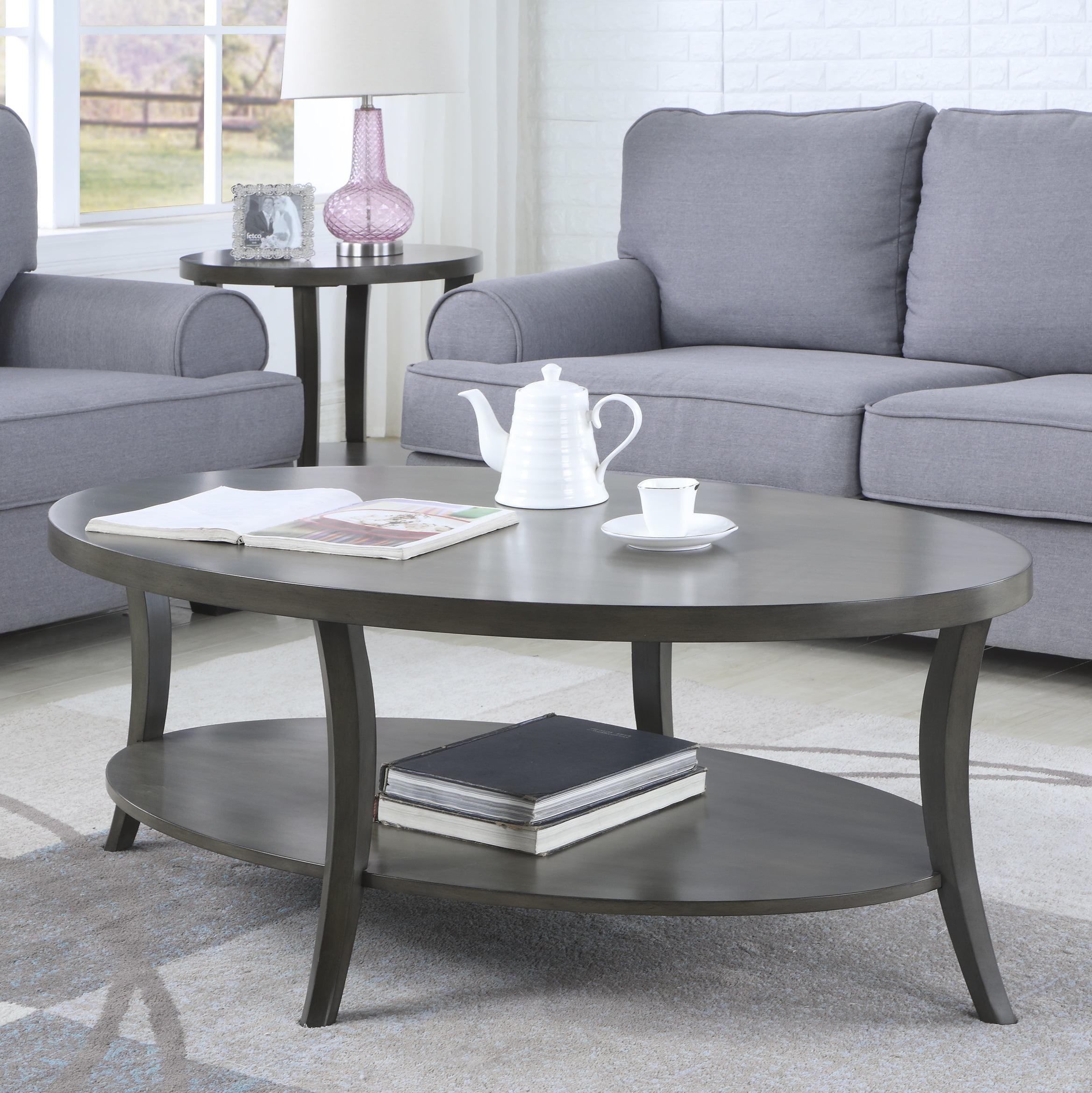 Roundhill Perth Contemporary Oval Shelf Coffee Table, Gray