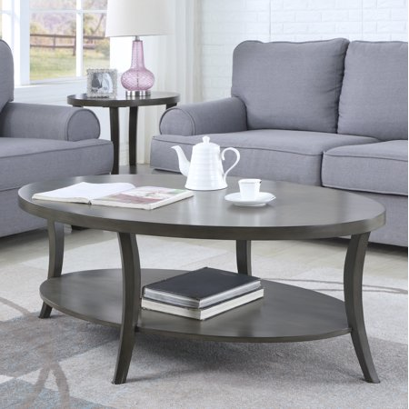 Roundhill Perth Contemporary Oval Shelf Coffee Table, Gray
