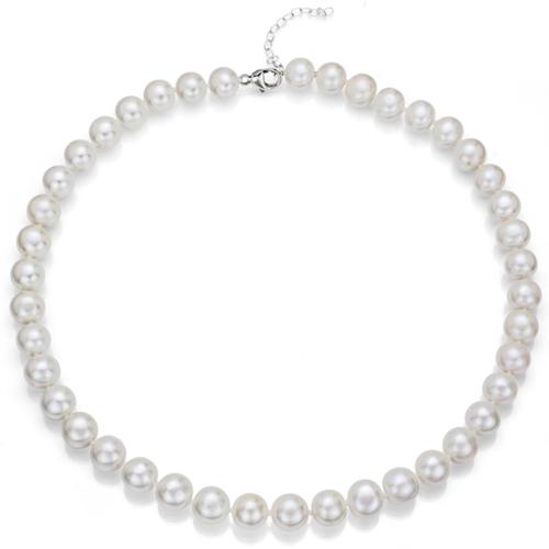 DaVonna Sterling Silver White Round Cultured Freshwater Pearl Necklace with Bonus Pearl Earrings (8-9 mm) by Overstock