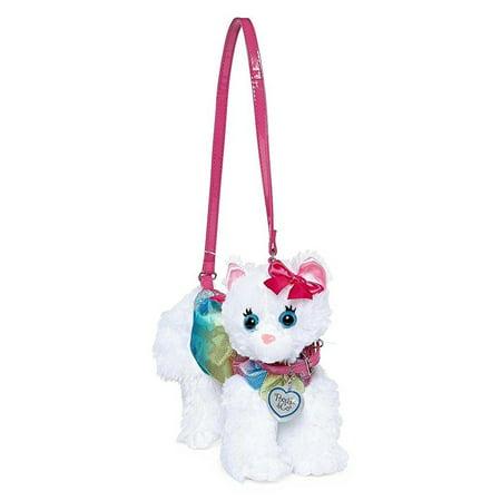 a2592c6ca83f Poochie & Co Girls Plush Kitty Purse, Rainbow Disco Dots Chloe Cat