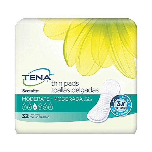 "TENA Serenity Thin Pads, 13"", Moderate Absorbency, 52070 - Case of 128"