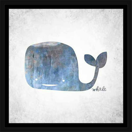 Illustrated Textured Whale Juvenile Painting Blue, Framed Canvas Art ...