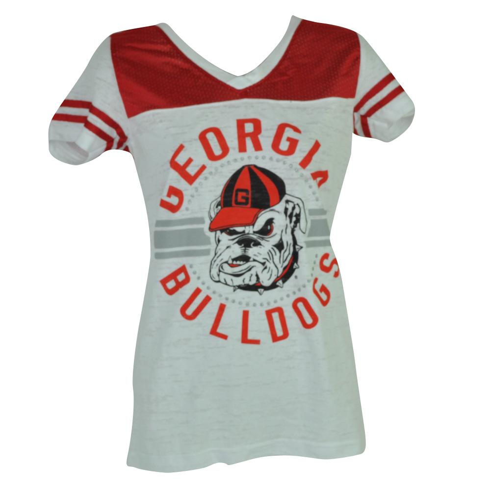 NCAA Georgia Bulldogs Womens Ladies Pink Tshirt V Neck Short Sleeve White 2XLarg by Creative Apparel