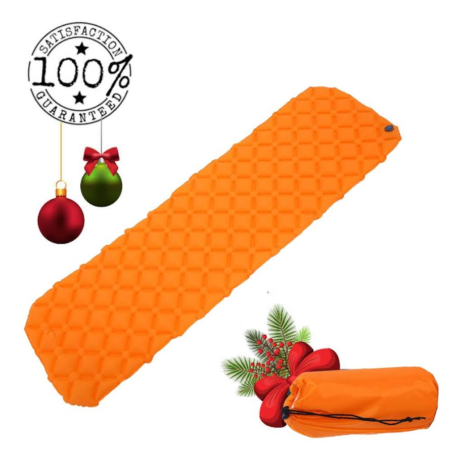 Sleeping Pad | Lightweight Camping Sleeping Bag Pad | Ultralight & Compact & Inflatable Air Mattress Pad-Insulated Air Mat Orange