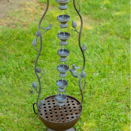 Alpine Metal Hanging 7-Cup Tier Layered Fountain, 41 Inch Tall