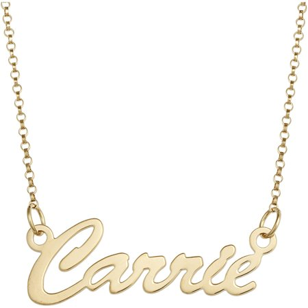 Personalized Gold Cartouche (Personalized Premium 14kt Gold over Sterling Hollywood Script Nameplate Necklace, 18