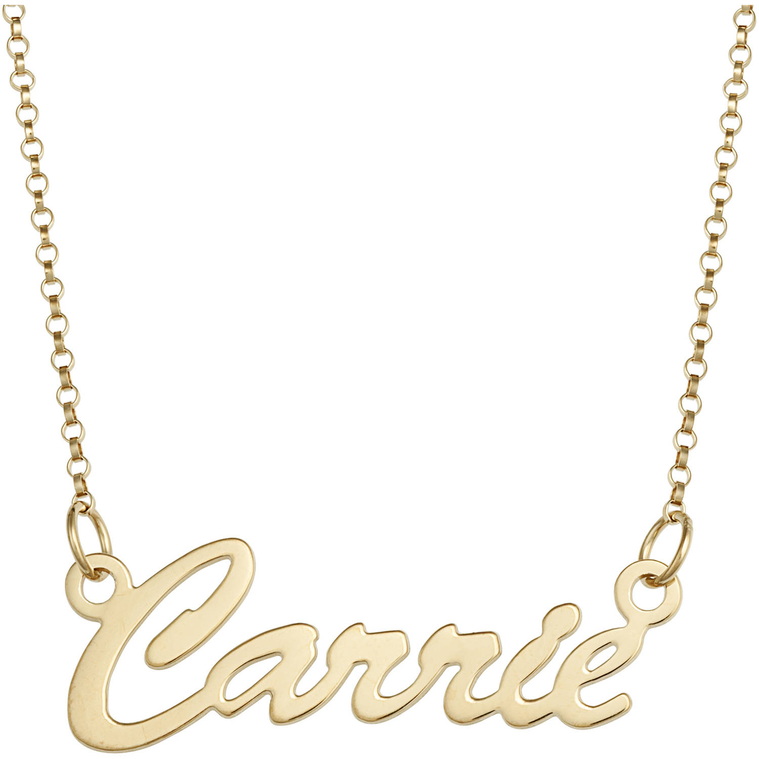 Personalized 14K Gold over Sterling Silver or Sterling Silver Hollywood Script Name Necklace, 18""
