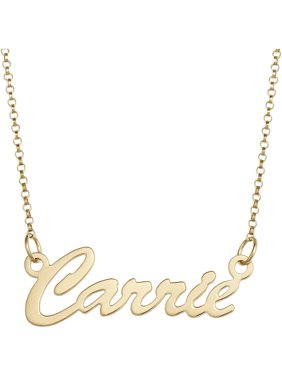 """Personalized Premium 14kt Gold over Sterling Hollywood Script Nameplate Necklace, 18"""", 1mm thickness"""