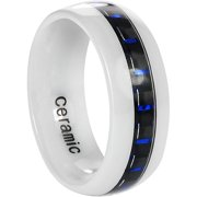 Men's Ceramic Blue Carbon Fiber Inlay Ring