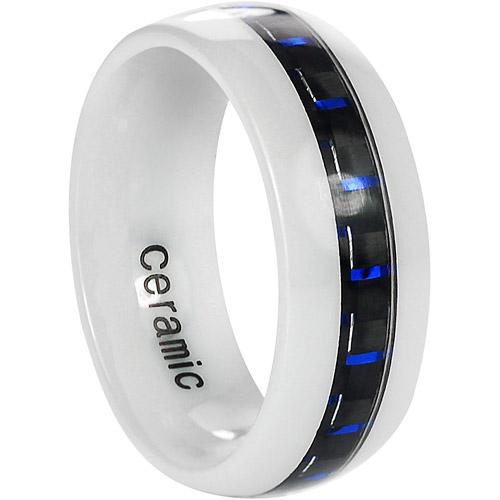 Daxx Men's Ceramic Blue Carbon Fiber Inlay Ring