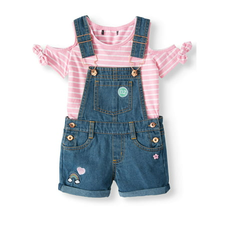 Cold Shoulder Tee & Denim Shortalls, 2pc Outfit Set (Baby Girls & Toddler Girls)