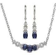 Created Sapphire And Diamond Accent 2 Pi