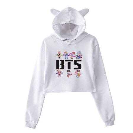 Fancyleo BTS Album Loving Each Other Tear Fake Love Kpop Long Sleeve Cropped Hoodies Sweatshirt Women Cat Hooded Cardigan Crop Tops Clothes
