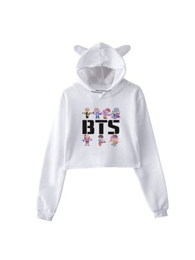 221cb21e20a57a Product Image Fancyleo BTS Album Loving Each Other Tear Fake Love Kpop Long  Sleeve Cropped Hoodies Sweatshirt Women