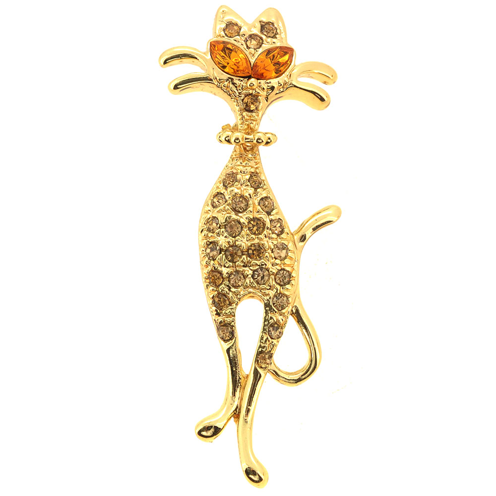 Golden Topaz Cat Brooch Pin by